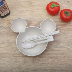 小麦秸秆碗筷勺叉四件套 餐盘--米色 儿童节奖品