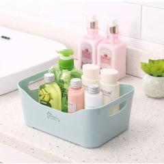 双耳提手桌面整理收纳盒 厨房浴室收纳筐 小号--薄荷蓝