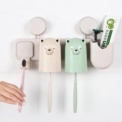 小麦秸秆卡通小熊三杯牙刷架洗漱套装(789)