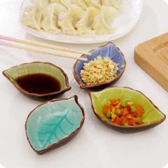 陶瓷冰裂釉调料酱油醋小碟子 树叶造型--绿色