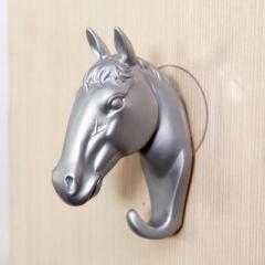 立体动物墙面装饰吸盘挂钩 --复古马头(银色)