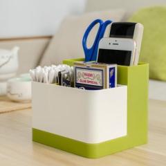 纳川可拆装分隔式桌面杂物收纳盒--波斯绿+芬德拉白