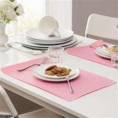 圆点EVA餐垫/隔热垫--粉色(28*43CM)
