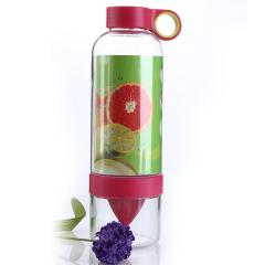 安全材质800ml柠檬手动榨汁便携能量杯-红色