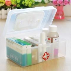 虹达透明长方形手提式三格小药箱(2312)医药推广小礼品