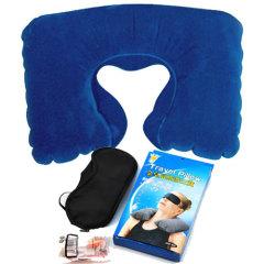 金皇冠植绒充气枕+眼罩+耳塞旅行三宝-深蓝色