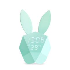咪兔鬧鐘 創意多功能聲控靜音鬧鐘 床頭夜光時鐘 創意禮品 兒童節送給孩子的小禮品