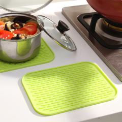 方形防滑硅胶垫 隔热垫 餐垫--绿色