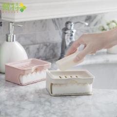 梵特創意雙層瀝水肥皂盒 帶海綿香皂盤 --卡其色 促銷禮品可以用哪些