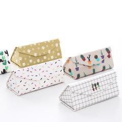 【绿白条纹】款 可折叠三角眼镜盒 便携式眼镜盒