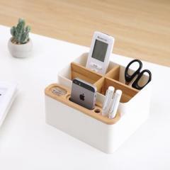 纳川可拆卸分隔桌面多用收纳盒--优雅白(AO265)