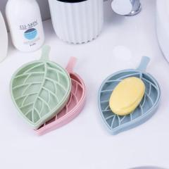 树叶形双层沥水香皂盒 肥皂架--粉色