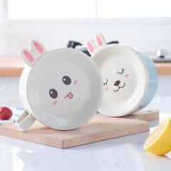 小兔子带盖不锈钢防烫泡面碗 汤碗--北欧粉
