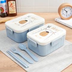小麦秸秆卡通图案双格饭盒 便当盒--小号蓝色(6152)