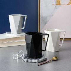 简约几何图案带手柄素色水杯 洗漱杯--米白色会销十元内小礼品