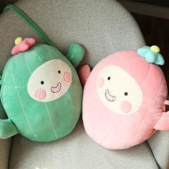 温冬卡通水果可拆洗双插手斜跨电热水袋 暖手宝--粉色仙人掌 公司发的比较有新意的生日礼物