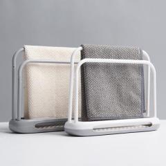 简约吸水速干硅藻泥双杆抹布架--灰白色