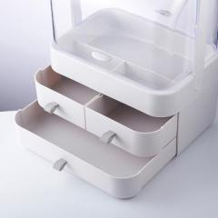 手提小號雙開門防塵翻蓋帶抽屜透明化妝品收納盒--象牙白(5998)