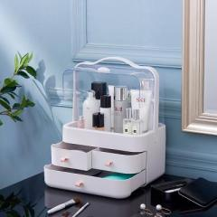 手提小號雙開門防塵翻蓋帶抽屜透明化妝品收納盒--俏麗粉(5998)