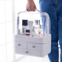 手提小號雙開門防塵翻蓋帶抽屜透明化妝品收納盒--天空灰(5998)