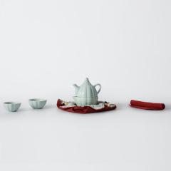 【荷塘月色】创意便携旅行茶具套装 一壶一茶海二杯茶礼 德化玉脂白瓷茶具礼品