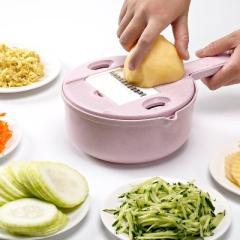 小麦秸秆厨房刨丝器切菜器八合一套装--粉色