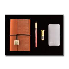 【锦辉】原创设计礼盒四件套 记事本U盘充电宝红木笔套装 高端商务礼品