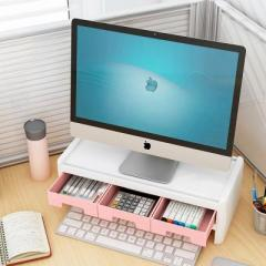 电脑显示器增高架 键盘收纳整理架--芭蕾粉(双层三抽屉)