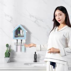透明窗小房子三杯牙刷置物架洗漱套装--蓝色