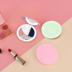 充电式UV烤漆便携LED化妆圆镜 双面高清梳妆镜--粉色(B-500)创意女性小礼品