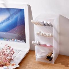 桌面橫豎兩用4格文具收納盒 分格筆筒 化妝品收納盒--透明白大號加寬培訓小禮品有哪些