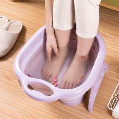 便携折叠卫生泡脚桶 滚轮按摩足浴洗脚盆--紫色 社区活动奖品
