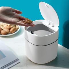 北歐圓桶形衛生紙簍 帶蓋桌面垃圾桶--白色(翻蓋款)送禮小禮品