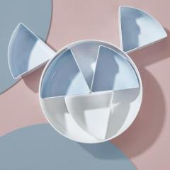 北欧圆形透明盖密封五格干果盘 零食收纳糖果盒--蓝色 送顾客什么礼品