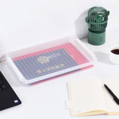 卢卡斯透明带盖卡扣式证件收纳盒 A4文件盒--1层装 适合送给客户的小礼品