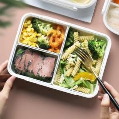 透明盖密封保鲜便当盒 微波炉加热饭盒 三格--950ml