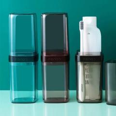 旅行便携双漱口杯牙具收纳盒 透明洗漱牙刷杯--蓝色(871)小礼品有哪些