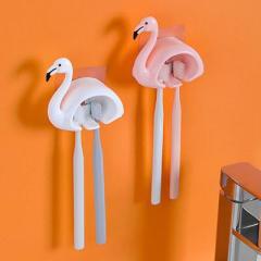 無痕壁掛雙卡位牙刷架 火烈鳥--粉色