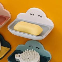 雙層瀝水云朵肥皂盒 加大加寬香皂盒--白色