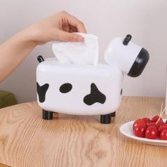 DIY创意带牙签盒小牛纸巾盒 桌面抽纸盒