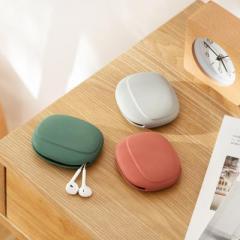 纳川硅胶便携数据线耳机保护收纳盒--蜜芽红(A0391)