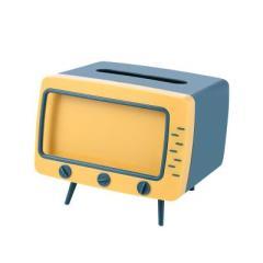 复古电视机纸巾盒 手机观影置物架--海洋蓝