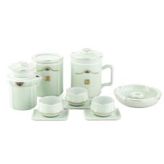 菲驰(VENES)茶艺杯+茶叶罐+快客杯+烟灰缸+品茗杯*3+杯托*3龙泉青瓷茶具套装 500元以内的商务礼品