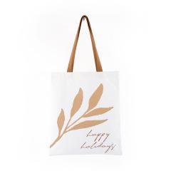 树叶印花ins手提帆布袋 简约环保 比较实用的奖品