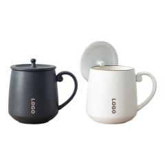 【听雨·水杯】陶瓷带盖茶杯 文艺办公水杯 简约马克杯300ML