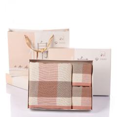 清新纱布纯棉格子三件套 1条浴巾+2条毛巾套装 企业周年纪念品