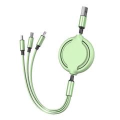 创意一拖三快充数据线 通用充电线1.2米伸缩三合一USB 活动礼品定制 促销礼品批发