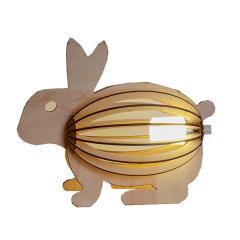 雕刻兔子台灯 创意ins卧室儿童床头小夜灯 原木创意礼品