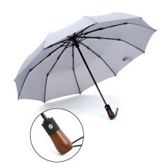 木柄十骨防风雨伞 三折全自动晴雨折叠伞 商务雨伞定制
