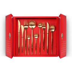 【开门大吉】中国红餐具礼盒 拉丝工艺不锈钢西餐具套装 刀叉勺十件套 新年礼品